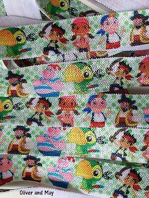 "Jake and the Neverland Pirates 16mm FOE 5/8"" Fold Over Elastic Hairties 1m/3 /5m"