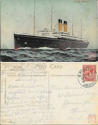 Angleterre - Carte Postale PAQUEBOT - BALTIC - Posted at Sea 1920 - Liverpool