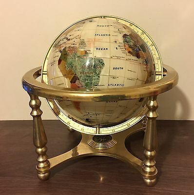 "Medium 9"" White Gemstone Semi Precious Stones Globe On Brass Stand With Compass"