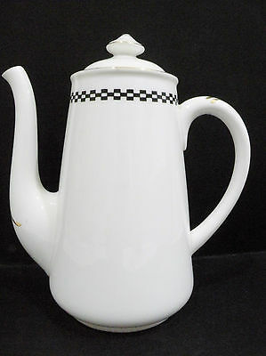 Shelley Coffee Pot - black & white checkered pattern  a/f - chipped