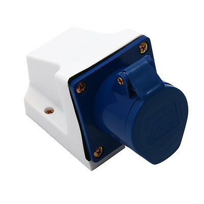 16A Plug Socket 3 Pin 240V Weatherproof Electrical Connector Surface Mounted Hot