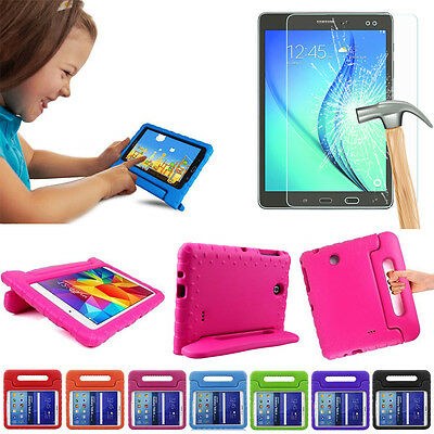 Kids Shockproof EVA Stand Case Cover For iPad/Samsung Tablet+Tempered Glass Film