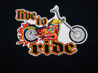 """Harley-Davidson style """"Live to Ride"""" Chopper Motor Cycle Magnet"""