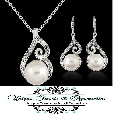 Newest Women Crystal Pearl Pendant Necklace Earring Jewelry Set 925 Silver