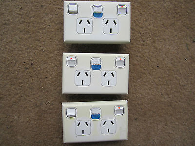 3 X HPM Double Switch Socket Powerpoint Outlet GPO RCD Protect Earth