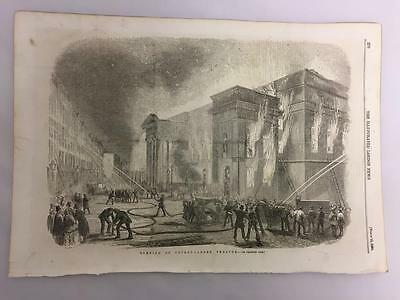 Antique Victorian Print Burning of Covent Garden Theatre London a1