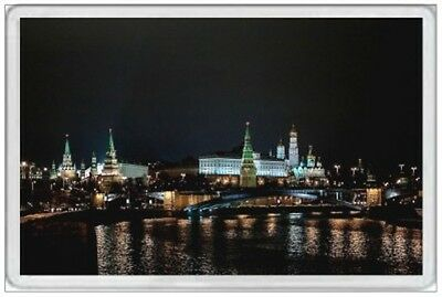 KREMLIN at NIGHT - JUMBO FRIDGE MAGNET - MOSCOW RUSSIA SOVIET RED SQUARE