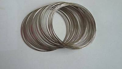 60mm steel platinum coloured memory wire, 50 coils, 0.5mm bracelet loop