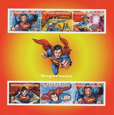 Superman Classic Comic Book Images Centrafricaine 2016 Mnh Stamp Sheetlet