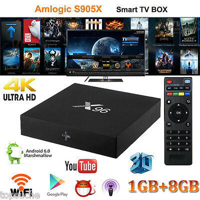 X96 TV Box Android 6.0 Amlogic S905X 8GB QuadCore H.265 3D PC Player WiFi USB SD