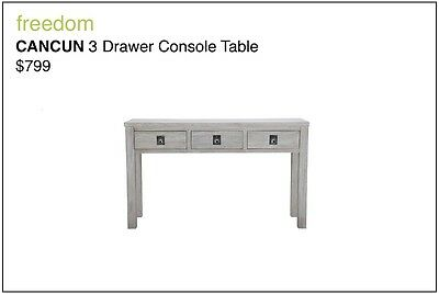 Cancun 3 Drawer Console Table - freedom - $799