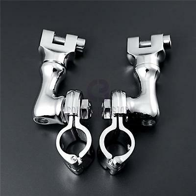 """1-1/4"""" Chrome Foot Peg Clamps Fit Harley Davidson Touring Dyna Softail Road King"""
