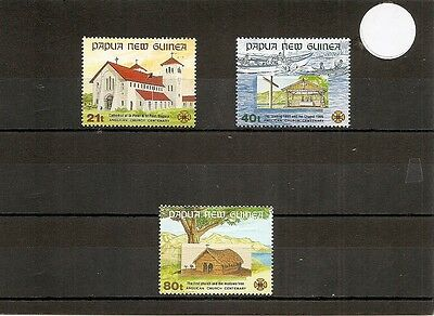 Papua NG.1991 SG655-7 3v NHM Anglican Church on Papua-Cent-Missionaries Landing