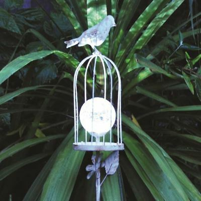 Kingfisher Solar Powered Bird Cage Garden Stake Light Crackle Glass Globe LED