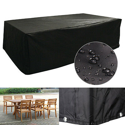 Black Large Furniture Cube Cover Outdoor Garden Waterproof Heavy Duty 6 Seater