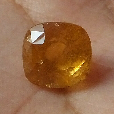 3.40 Ct Orissa Mines Natural Hessonite Garnet 8MM Faceted Gemstone Cushion Shape