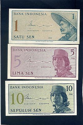 x3 Three Indonesia  Banknotes 1964