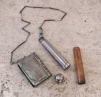 Antique Silver Plated Cigarette and match/snuff holder linked by chain