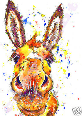 DONKEY PRINT of ORIGINAL WATERCOLOUR Burro Jack Ass Painting Art by JOSIE P
