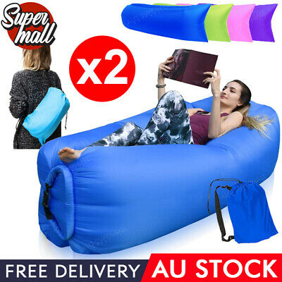 2X Fast Inflatable Lazy Lounge Camping Air Bag Sofa Bed hangout Beach Sleeping