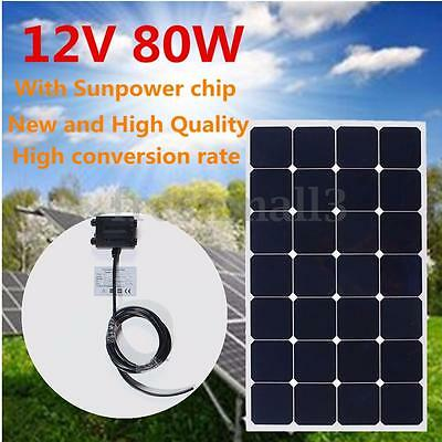 Monocrystalline 80W 12V Semi Flexible Solar Panel Battery Charger +3M Cable