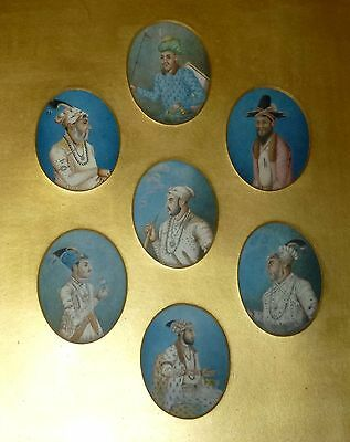 Framed Set of 7 x Antique 19thC Indian Portrait Miniatures - Mughal Emperors