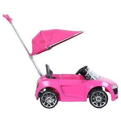 Push Buggy Car Ride On Audi R8 Canopy Kids Toddler Outdoor Girl Along Pink