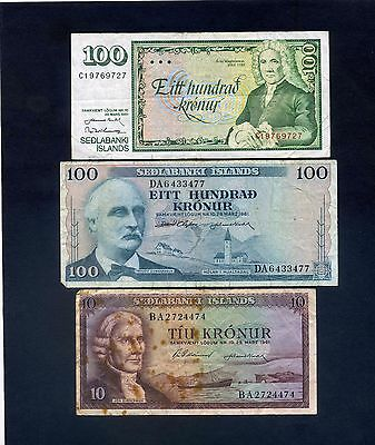 x3 Iceland Banknotes