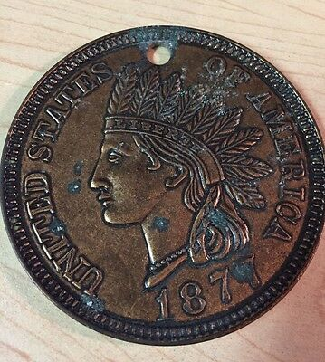 """LARGE 1877 One Cent 1¢ Indian Head Penny! 3"""" Coaster Size Medallion! HUGE Coin!"""