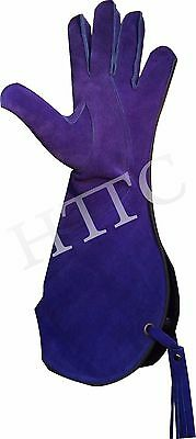 Falconry Suede Leather Glove 16 Inches Long Blue Color