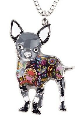 New Beautiful Abstract Chihuahua Dog Necklace. Very Unique Gray Black
