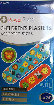 Childrens Plasters  75 assorted sizes - Durable Breathable Flexible - NEW