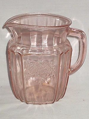 """Mayfair Open Rose Pink 6"""" Glass Water Pitcher Depression"""