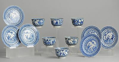 Super Set! 19C Chinese Porcelain Cup & Saucer Figures in Garden Kangxi Revival