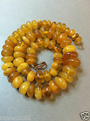 NATURAL OLD YELLOW ANTIQUE BUTTERSCOTCH BALTIC AMBER NECKLACE 41,3 gr 波羅的海琥珀