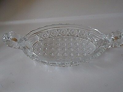 Vintage Imperial Nucut #495 Glass Oval Double Handle Relish Nut Dish Bowl c 1912