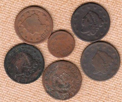 (6) Wounded US Copper Coins