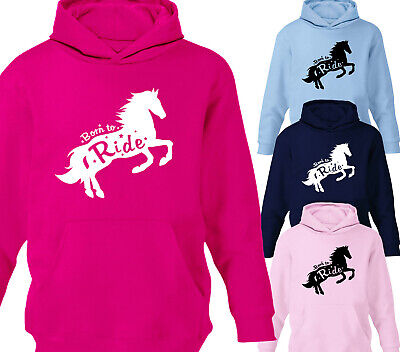 Born To Ride Girls Horse Riding Hoodie Childrens Kids Hoody Equestrian Gift