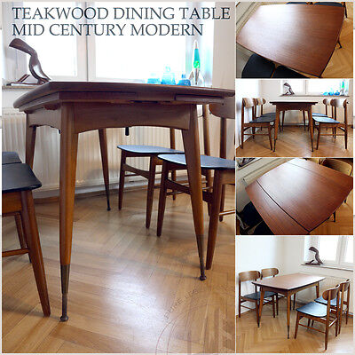 Expendable Vintage Mid Century Modern Dining Table Teak Ess ✨ Tisch & Height Adj