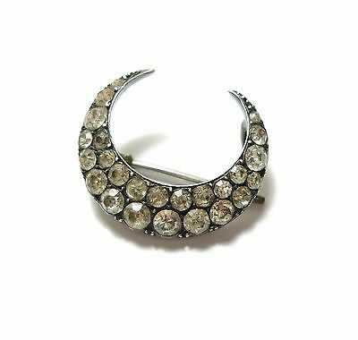 Charming Old Antique Victorian Silver & Paste Stone Crescent Moon Brooch (B4)