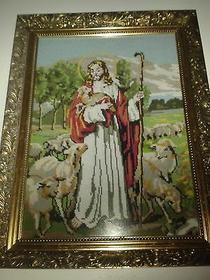 tapestry of Jesus with sheep