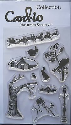 Card-io  Clear Stamp Set CHRISTMAS scenery 2 Santa snowman tree & more 10 stamps