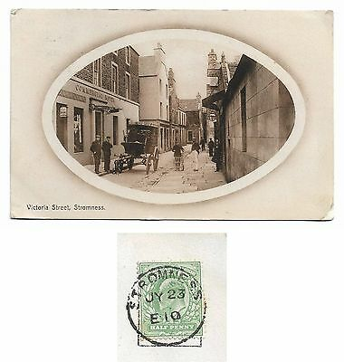 Stromness: Victoria Street Animated: 1910 Stromness Thimble Cancel Orkney
