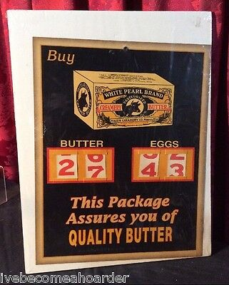 Vintage Antique Advertising Display Sign White Pearl Quality Butter Macon Miss