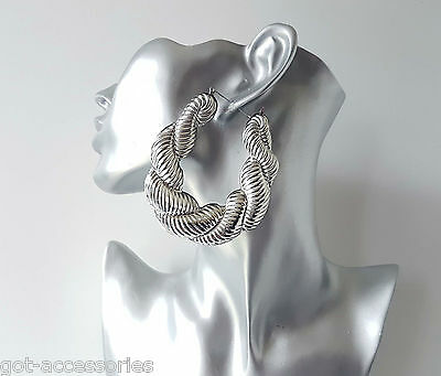 Gorgeous HUGE SILVER tone chunky twisted oversized style creole hoop earrings,