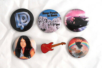 Deep Purple Rainbow Lot Of 6 80's Buttons & Pin Perfect Strangers In Rock