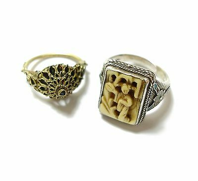 Two Beautiful Old Unusual Ornate Antique Chinese Enamel Silver Boho Rings (B11)