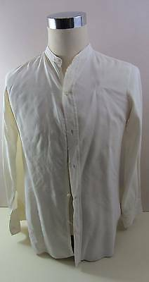 """Vintage mens white collarless dress shirt 50's 60's 38"""" chest tails imperfect"""