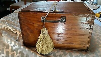 ANTIQUE TIGER- OAK WOOD finger jointed BOX WITH KEY AND HANDLE