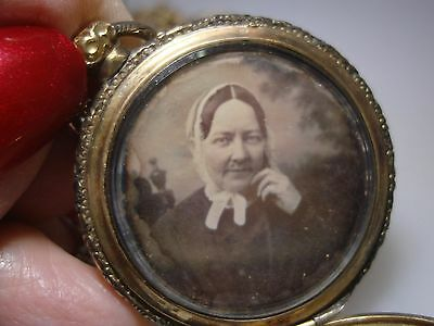 Rare Antique 1840's Double Daguerrotype W/beveled Glass Gold Washed Locket!